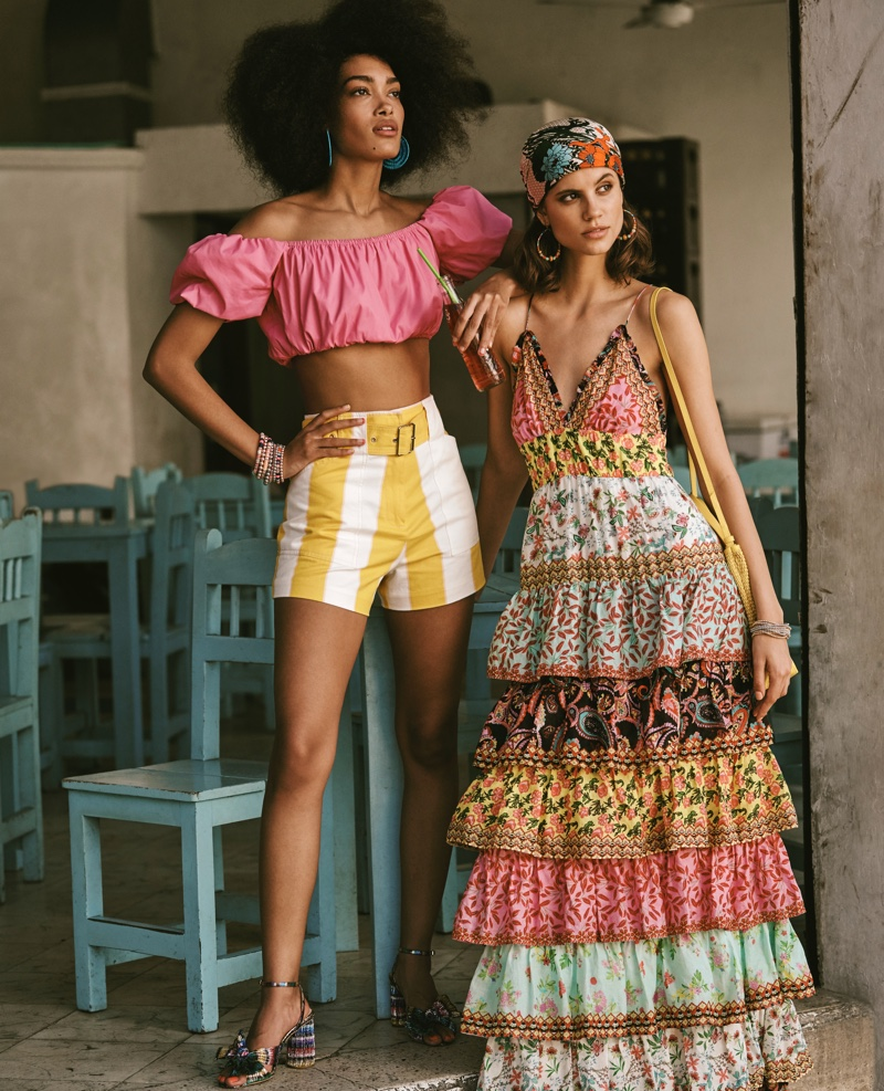 Models Marlee Bell and  Antonina Petkovic embrace print in Bloomingdale's Mix Masters spring-summer 2020 campaign