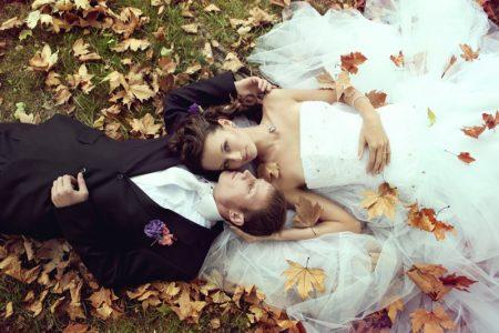 Bride Groom Fashion Shot Fall Leaves Dress