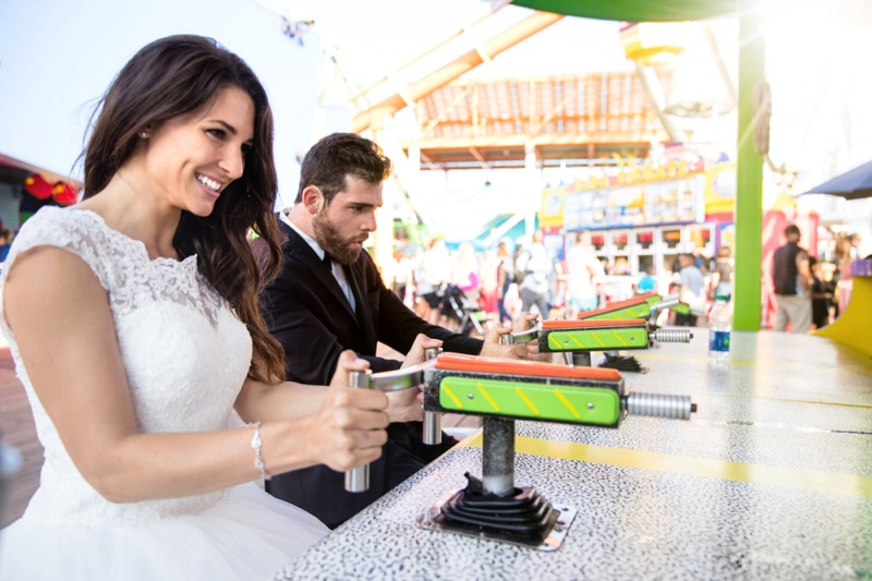 Bride Groom Playing Carnival Game