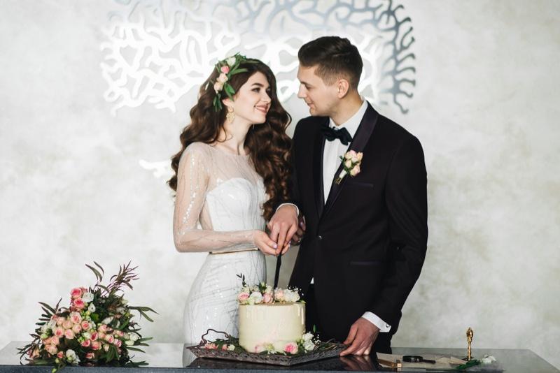 Bride Groom Smiling Wedding Cake Flowers