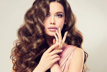 Brunette Model Long Wavy Hair Beauty Pink Top