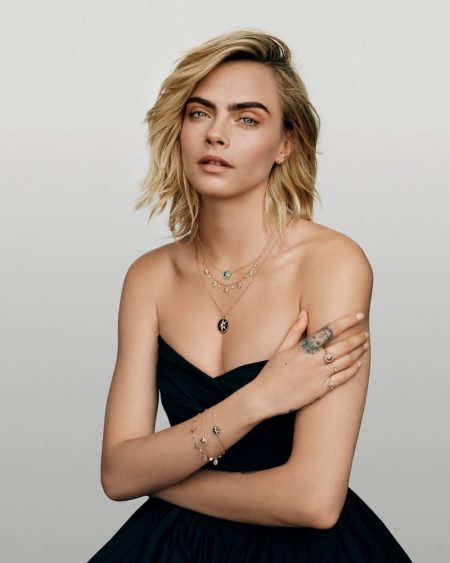 Model Cara Delevingne appears in Dior Joaillerie Rose des Vents 2020 campaign