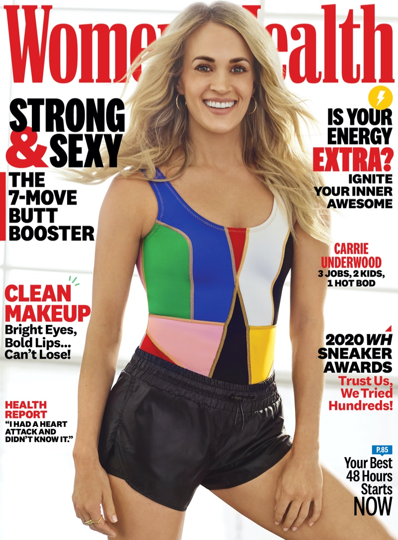 Singer Carrie Underwood on Women's Health April 2020 Cover