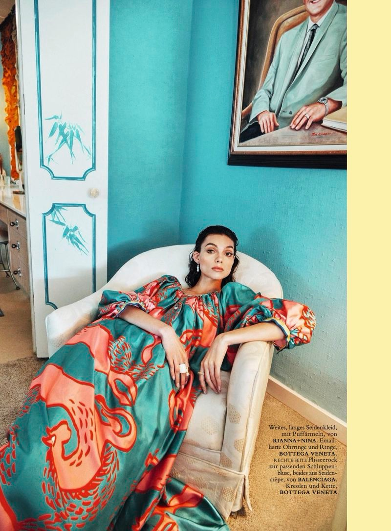 Charlee Fraser Poses in Retro Prints for Harper's Bazaar Germany