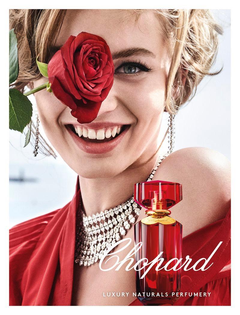 Model Giulia Maenza appears in Chopard Love Chopard perfume campaign