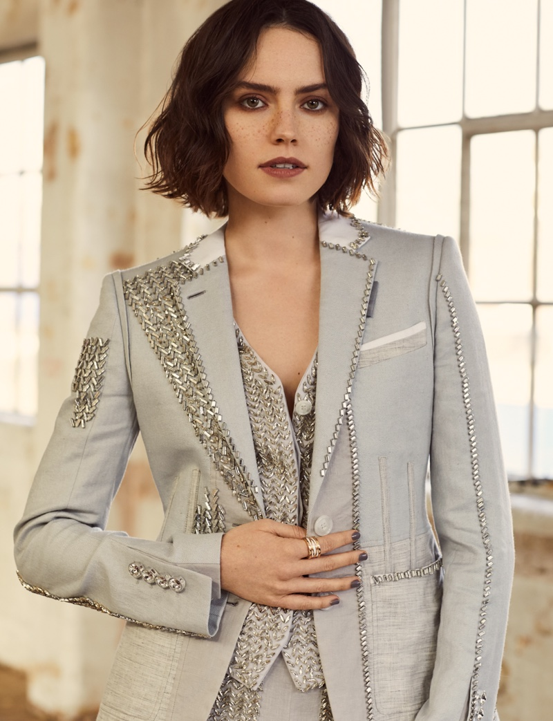 Photographed by Lara Jade, Daisy Ridley wears Burberry suit look