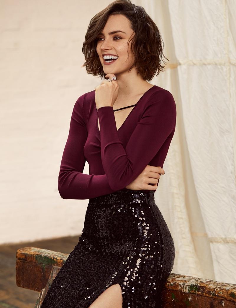 Flashing a smile, Daisy Ridley wears Gucci ensemble