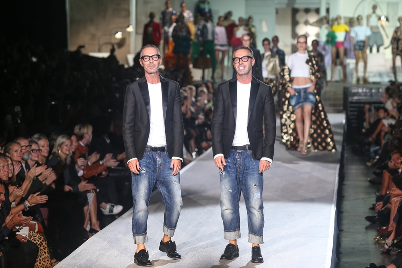 Dean Caten and Dan Caten walk the runway after the DSquared2 show