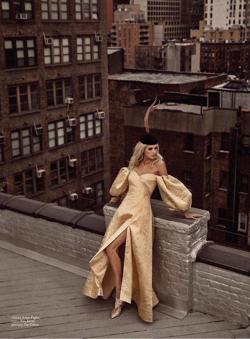 Devon Windsor Wears Glamorous Dresses for ELLE Slovenia
