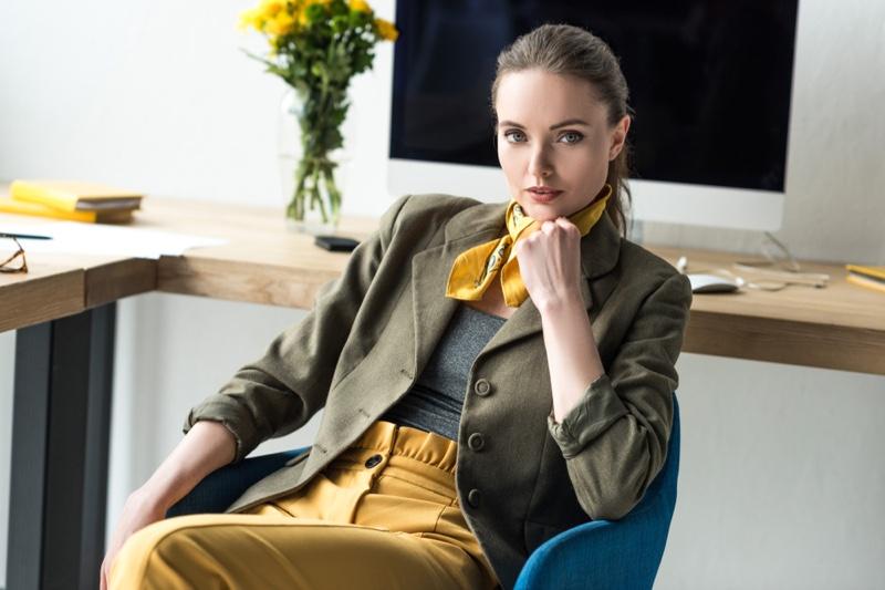 Fashionable Woman Office Yellow Jacket Pants Neck Scarf