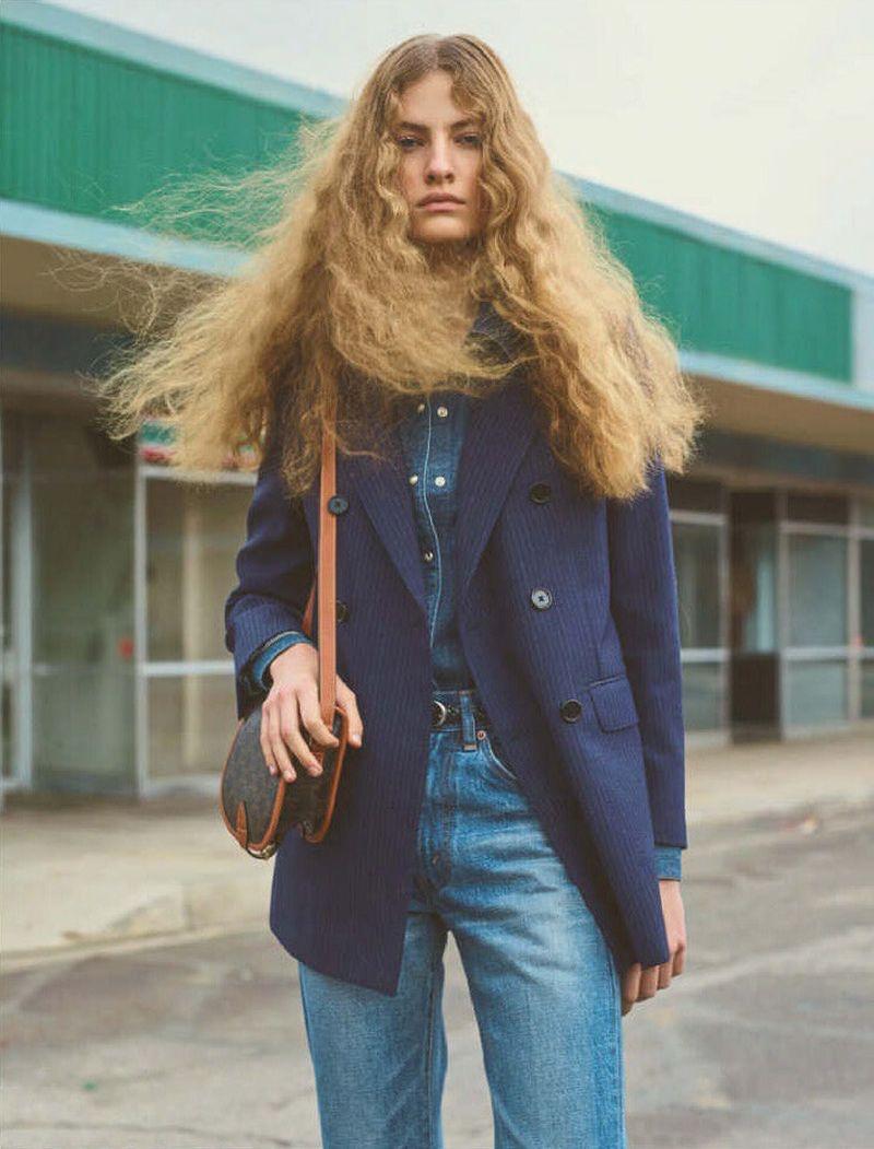 Felice Noordhoff Channels 1970's Denim Style for Vogue Japan