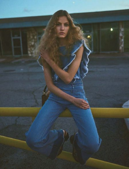 Felice Noordhoff Channels 1970's Denim Style for Vogue Japan