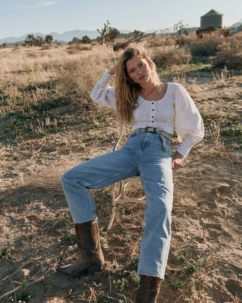 Free People Petunia Eyelet Top and We The Free Frank Dad Jeans