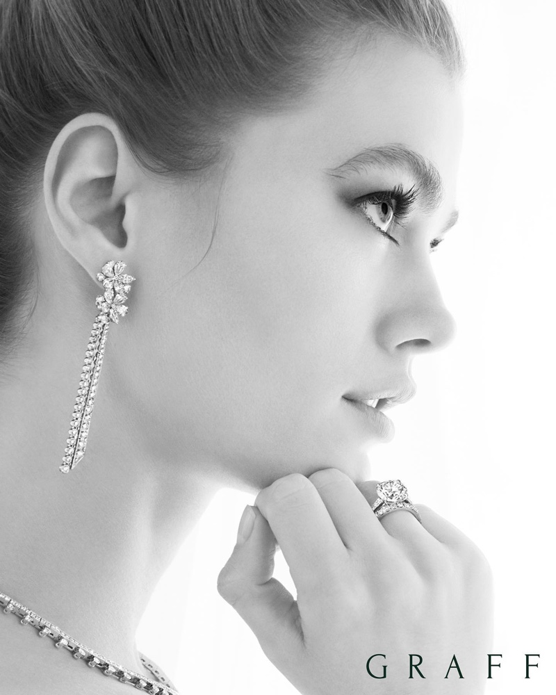 Mathilde Brandi poses for Graff Bridal 2020 jewelry campaign