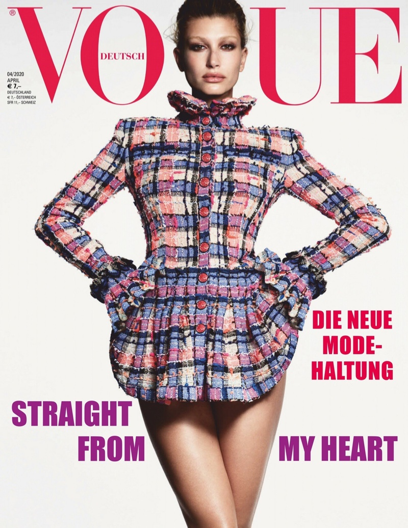 Hailey Baldwin Poses in Luxe Fashions for Vogue Germany