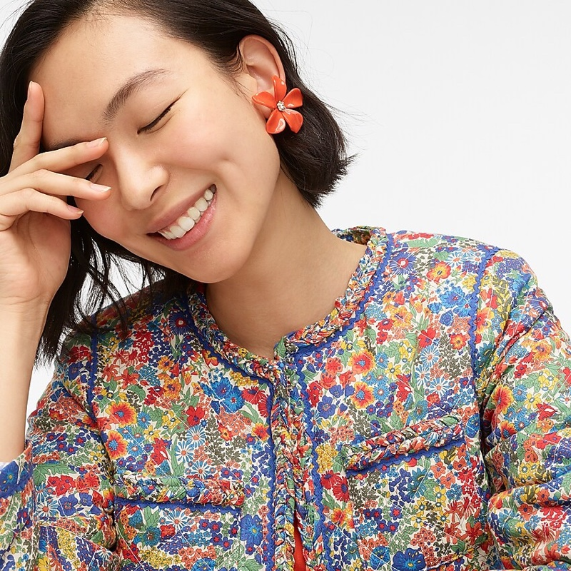 J. Crew Acetate Flower Earrings Pavé Detail in Authentic Red $39.50