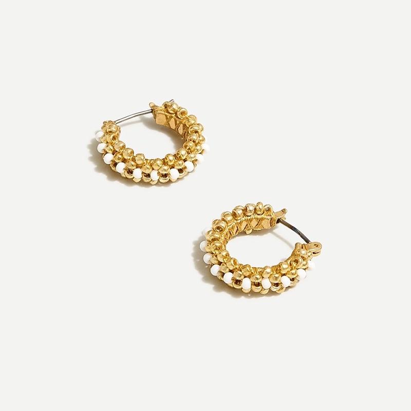 J. Crew Beaded Mini Hoop Earrings in Gold $29.50