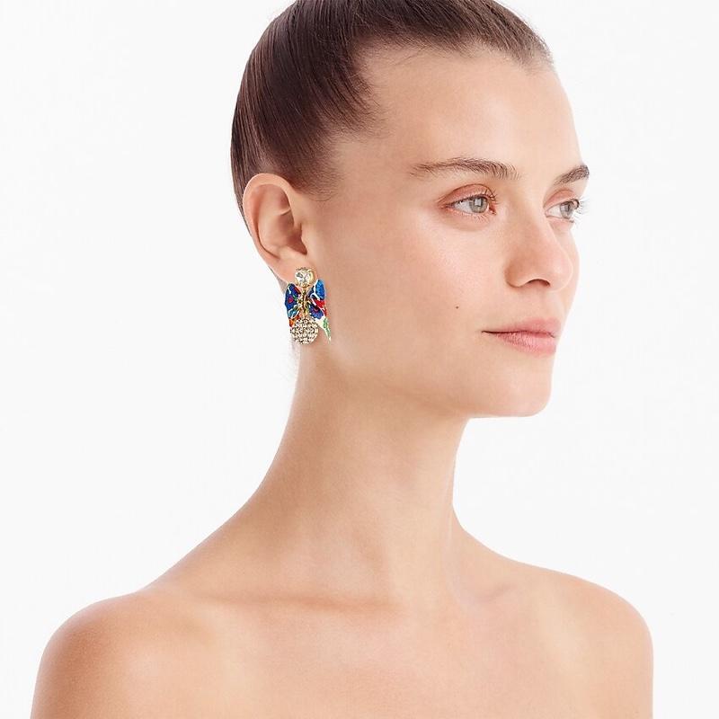 J. Crew Festive Pavé Drop Bow Earrings in Multi Color $34.50