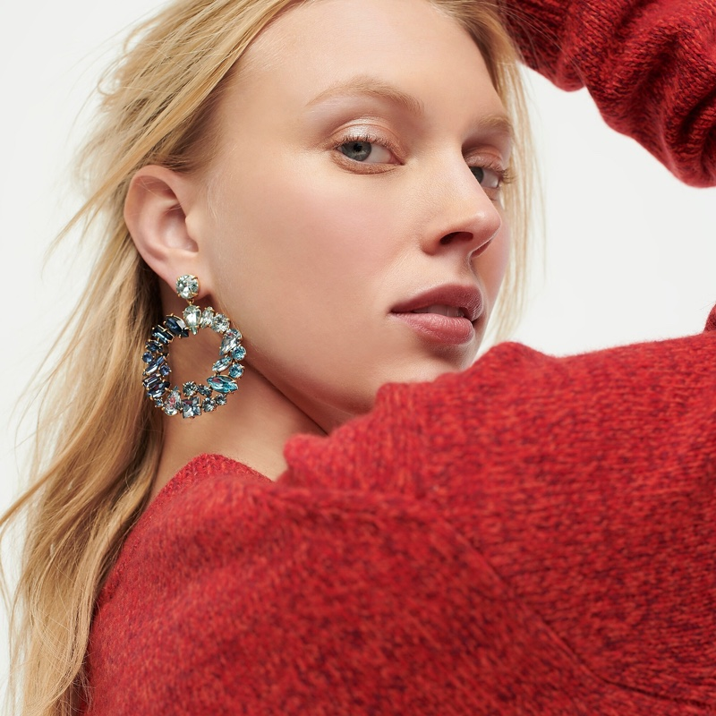 J. Crew Mixed Crystal Circle Statement Earrings in Warm Mineral $65