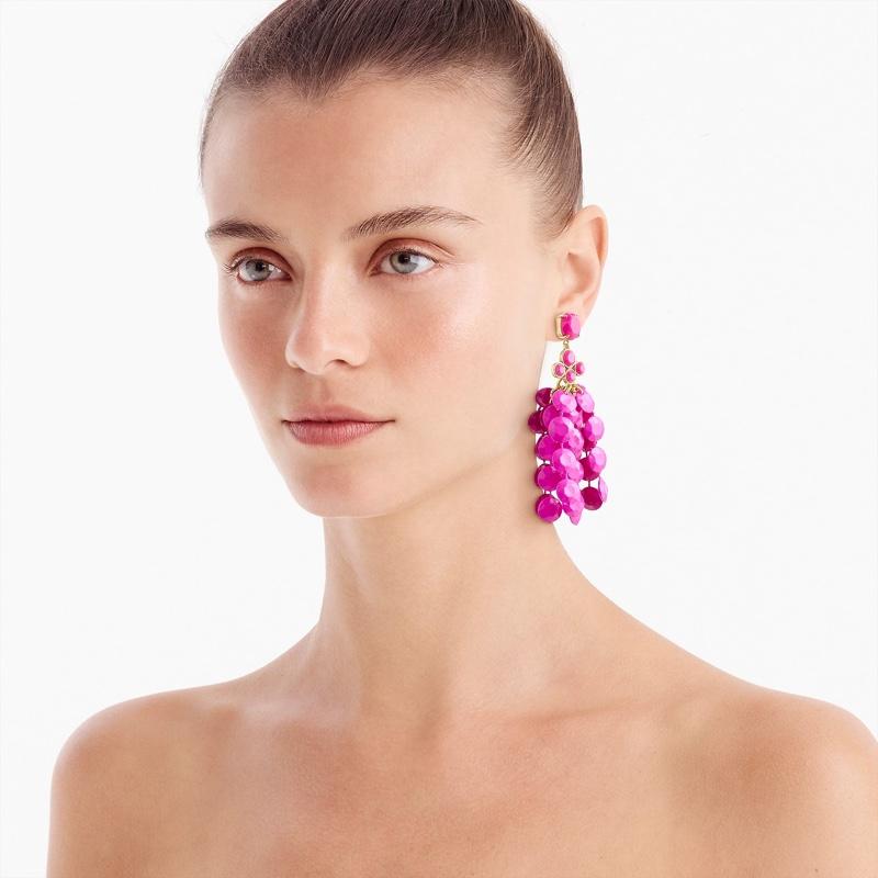 J. Crew Waterfall Bead Statement Earrings in Neon Flamingo $59.50