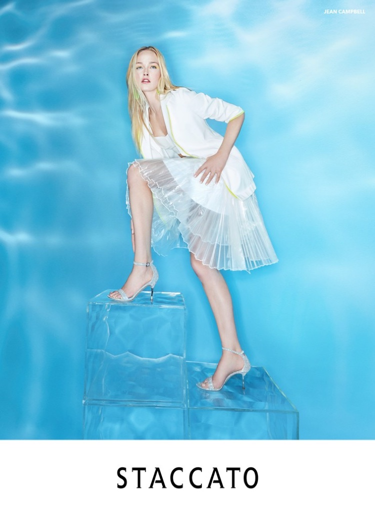 Model Jean Campbell appears in Staccato spring-summer 2020 campaign
