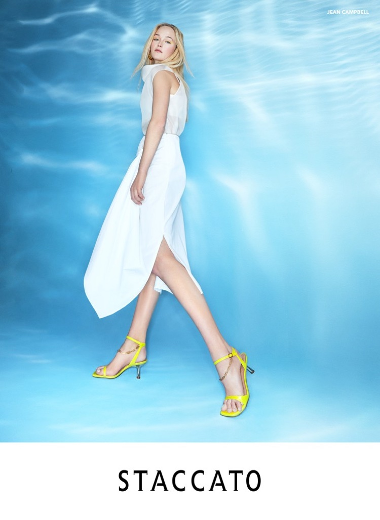 Jean Campbell shows off yellow sandals in Staccato spring-summer 2020 campaign