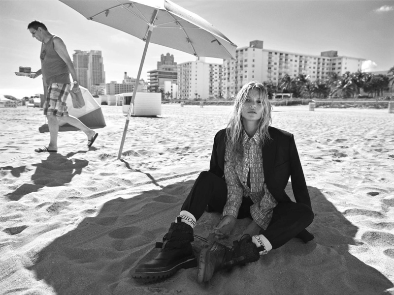 Kate Moss Takes to the Beach in Dior Designs for i-D