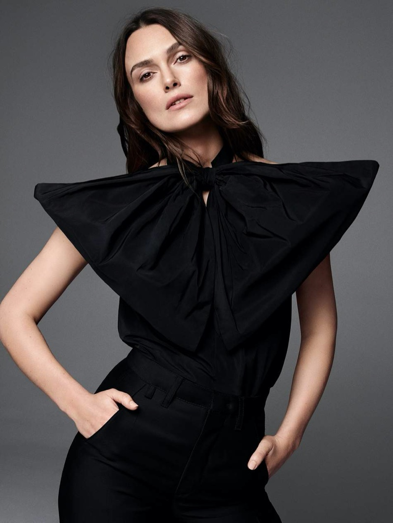 Actress Keira Knightley poses in Givenchy blouse