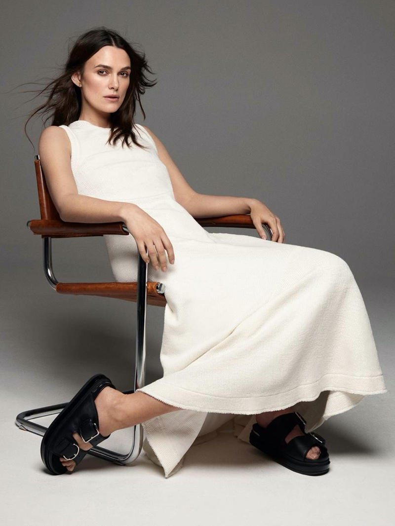 Actress Keira Knightley poses in Jil Sander dress with Alexander McQueen sandals