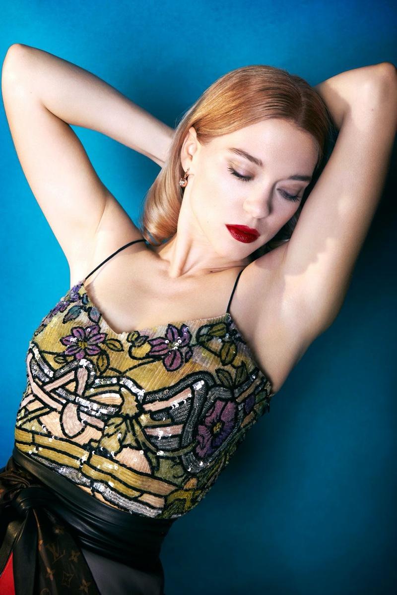 Lea Seydoux wears sequined look from Louis Vuitton
