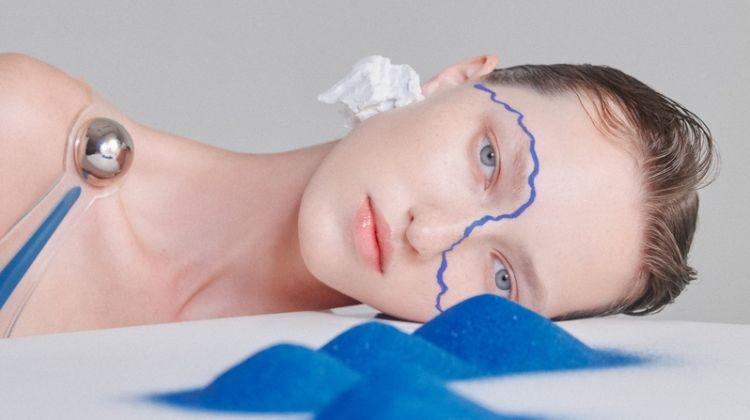 Liza Ostanina Dazzles in Blue for Harper's Bazaar China