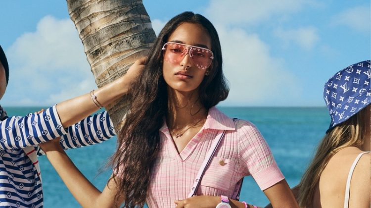 Mona Tougaard stars in Louis Vuitton LV Escale summer 2020 campaign