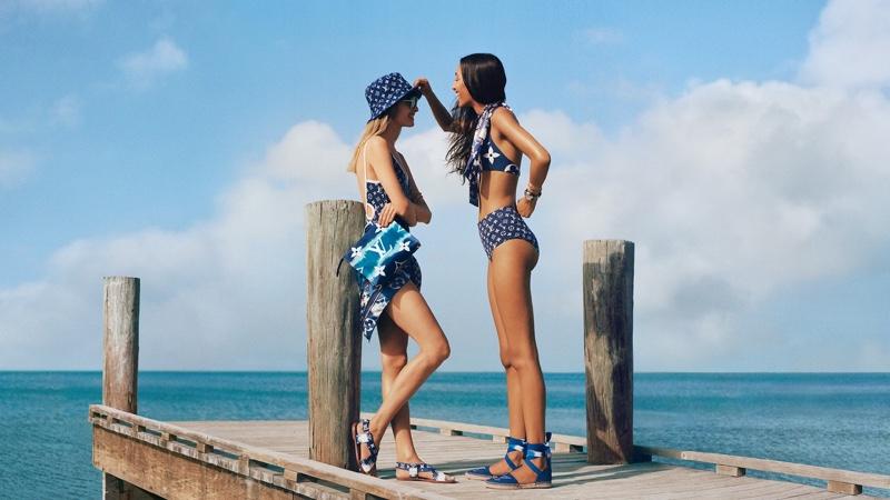 Klara Kristin and Mona Tougaard wear swimwear in Louis Vuitton LV Escale summer 2020 campaign