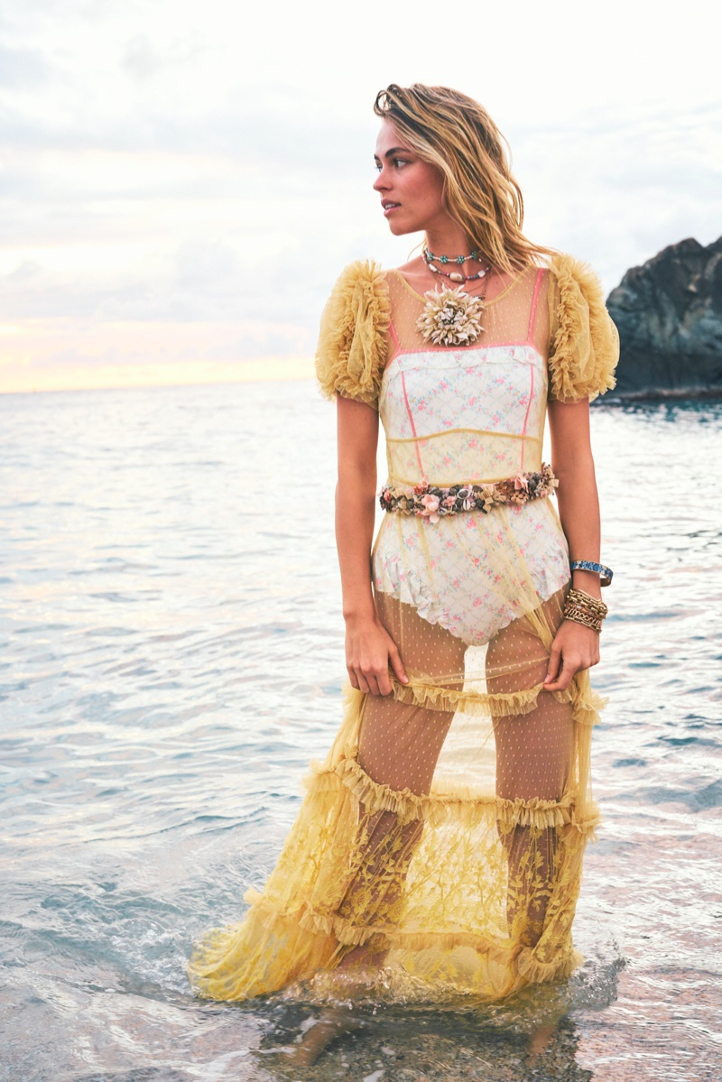 Posing at the beach, Caroline Kelley fronts LoveShackFancy lookbook