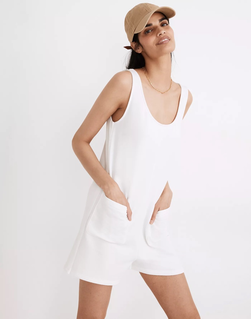 Madewell MWL Superbrushed Pull-On Romper in Lighthouse $79.50