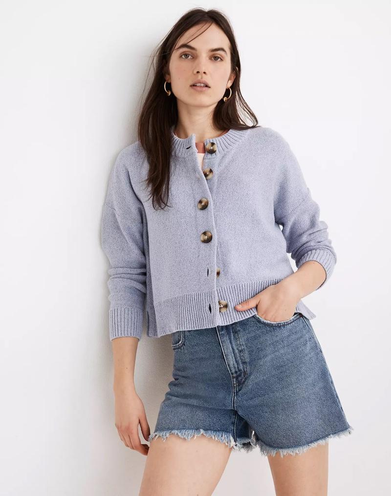 Madewell Broadway Cardigan Sweater in Marled Ocean $88