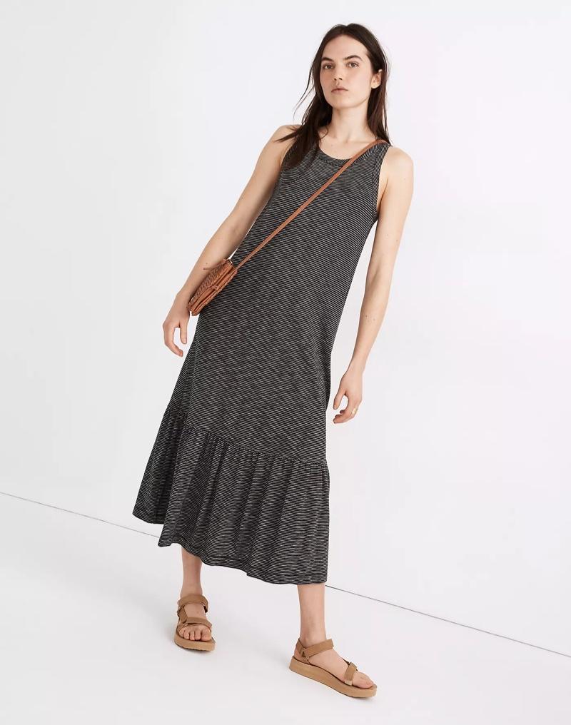 Madewell Knit Tank Ruffle-Hem Dress in Stripe $89.50