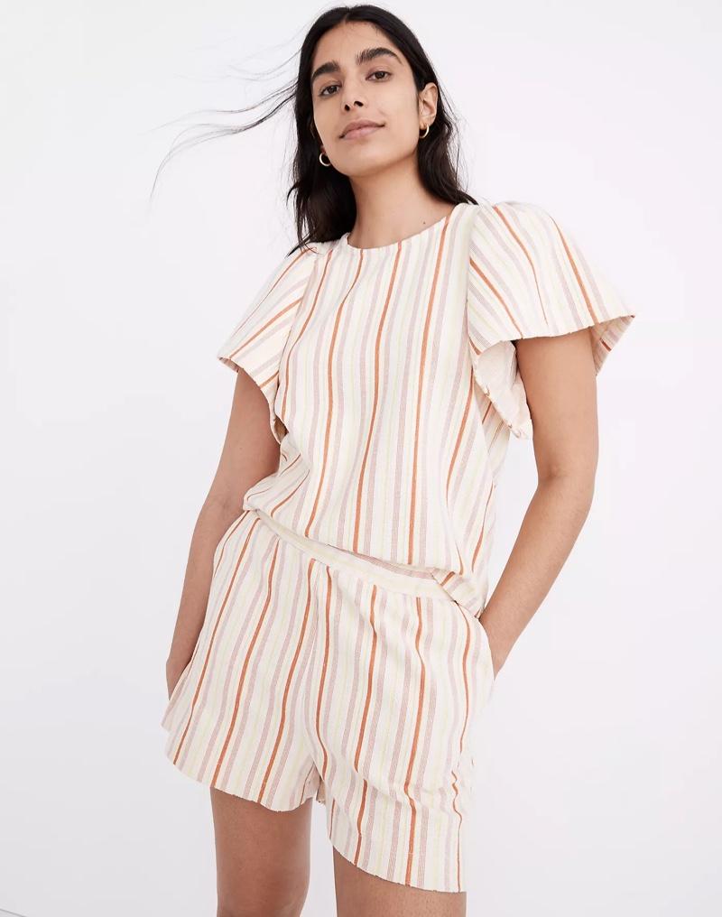 Madewell Textured Flutter-Sleeve Crop Top in Stripe $68