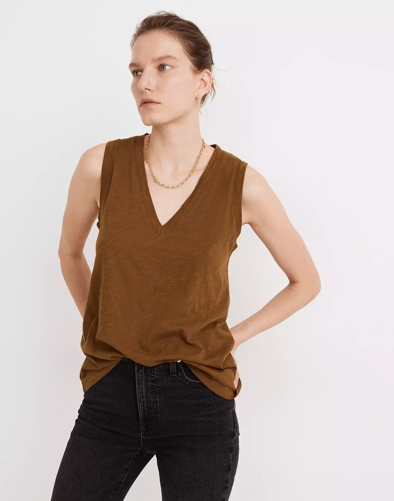 Madewell Whisper Cotton V-Neck Tank in Weathered Olive $18.50