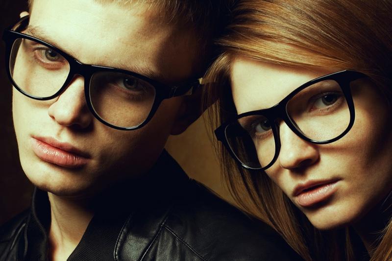 Male Female Models Black Frame Glasses Closeup