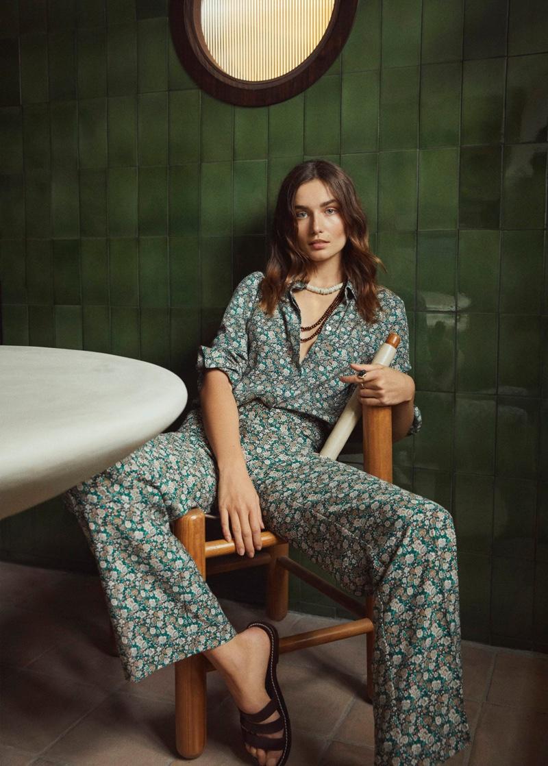 Andreea Diaconu stars in Mango Gentle Feeling spring 2020 lookbook