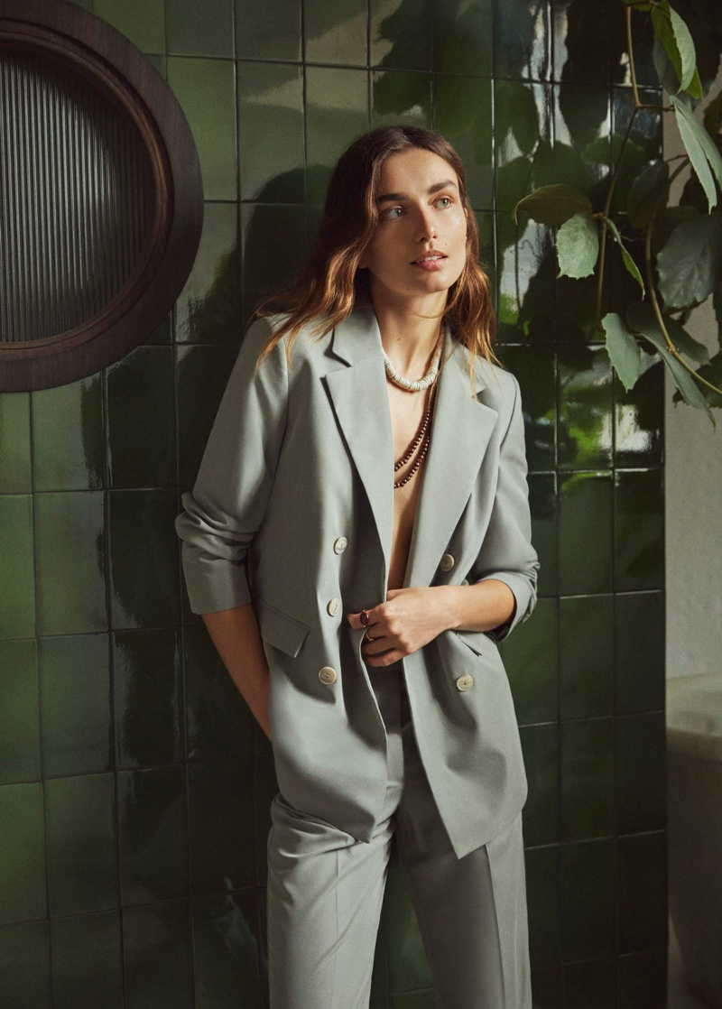 Mango Double Breasted Blazer and Cropped Modal Trousers