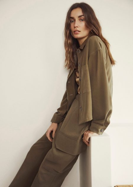 Andreea Diaconu Poses in Mango's Relaxed Spring Styles