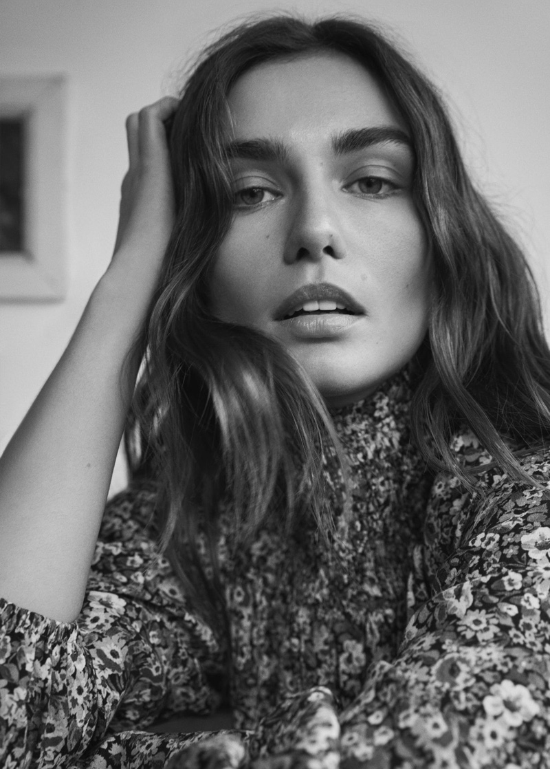 Andreea Diaconu gets her closeup in Mango Gentle Feeling spring 2020 lookbook