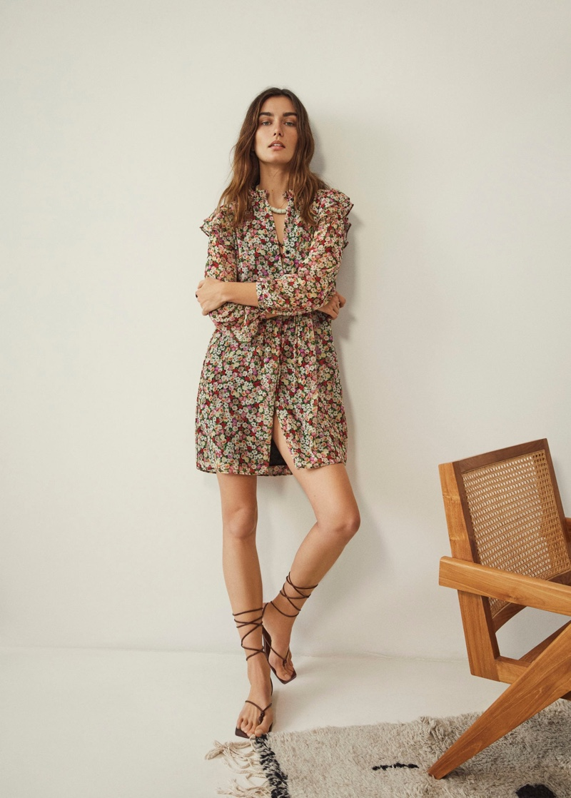Mango Ruffled Detail Dress