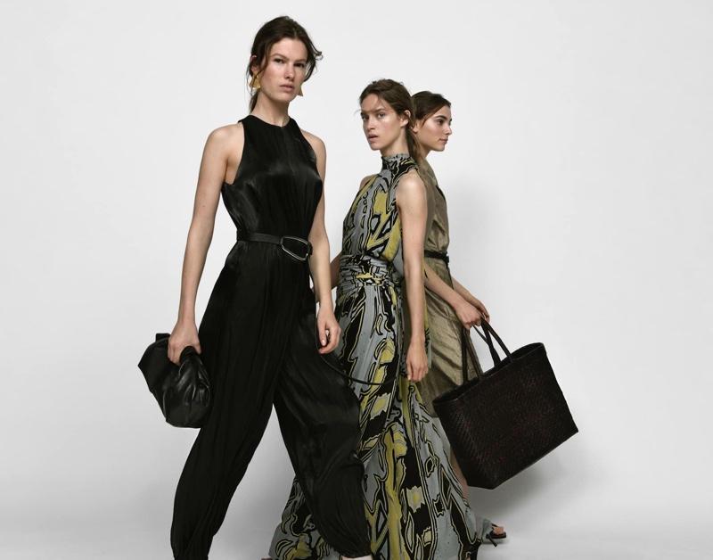 Models Romy Schonberger, Julia Jamin and Roos Van Elk front Massimo Dutti spring-summer 2020 lookbook