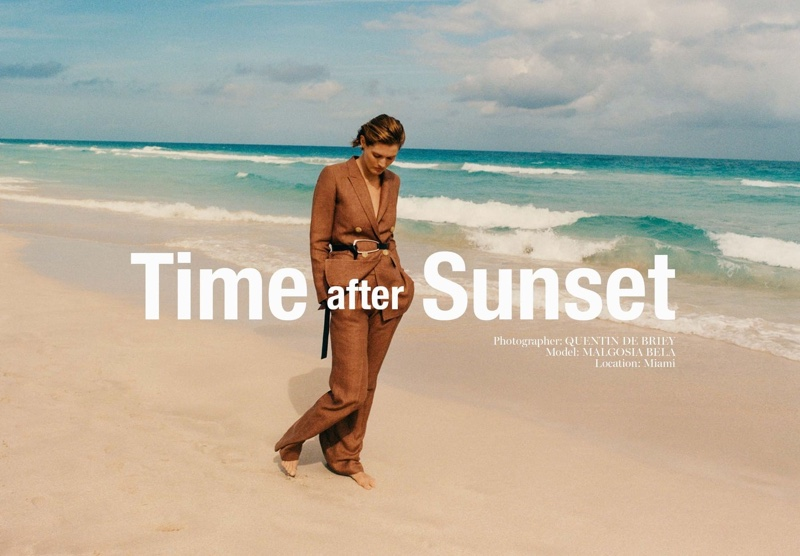Malgosia Bela stars in Massimo Dutti Time after Sunset spring-summer 2020 editorial