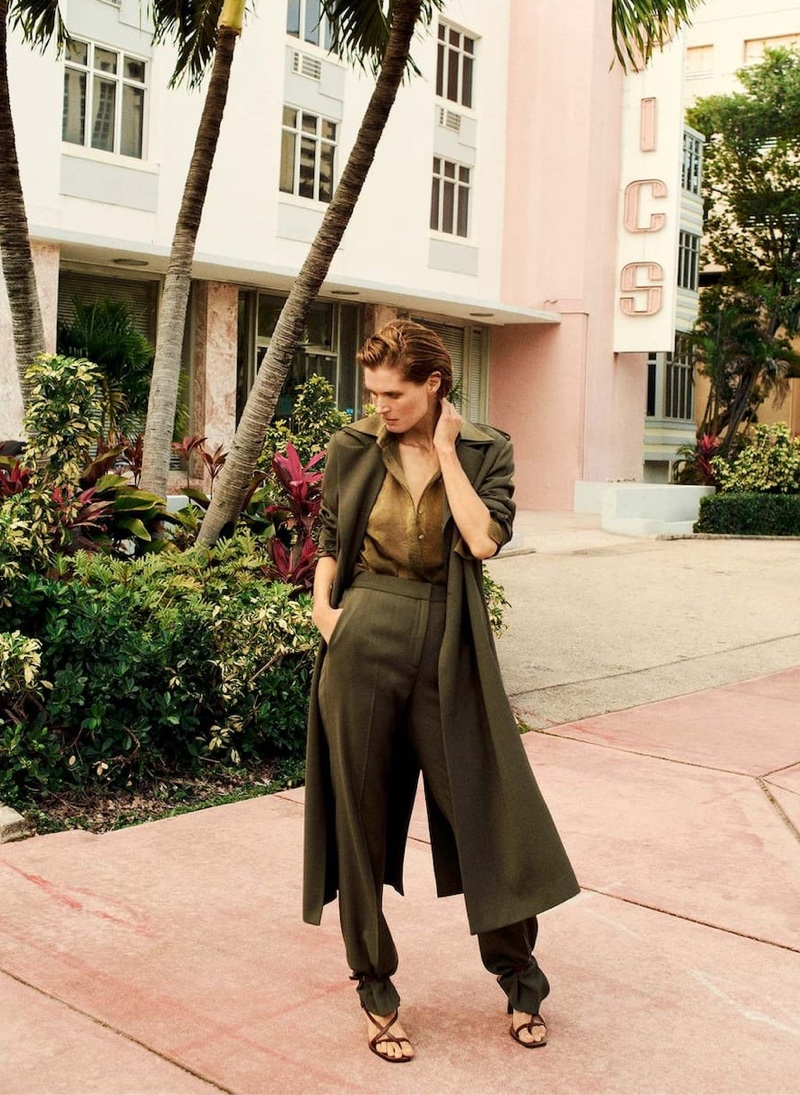 Model Malgosia Bela layers up in Massimo Dutti's spring 2020 styles