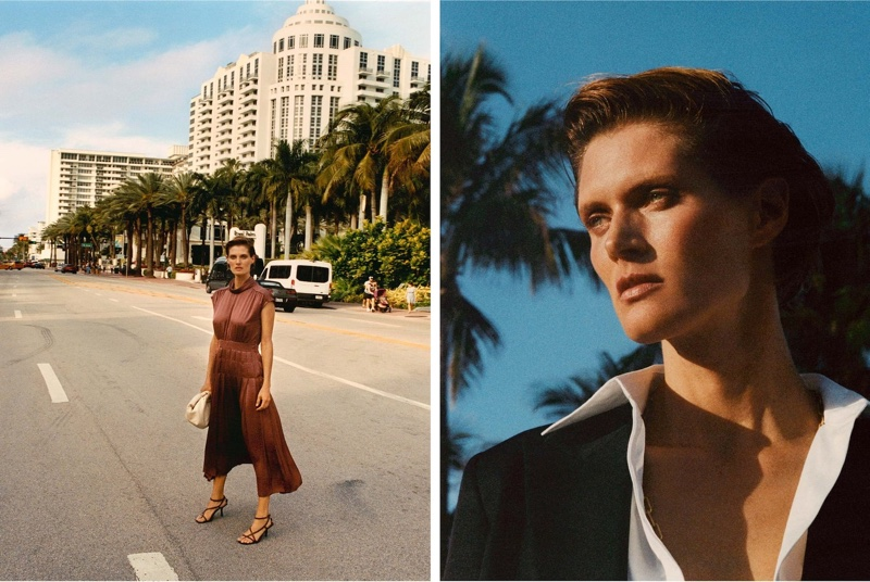 Malgosia Bela poses in Miami for Massimo Dutti spring-summer 2020 lookbook