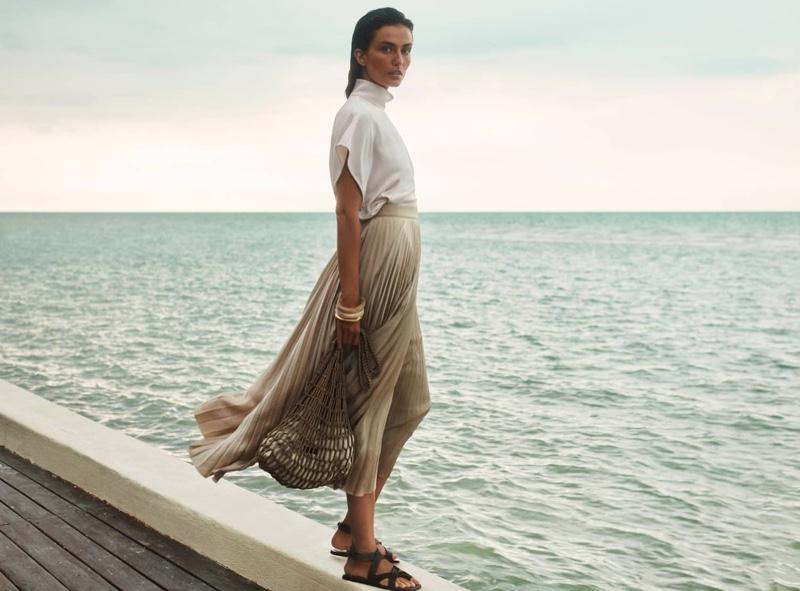 Posing seaside, Andreea Diaconu fronts Massimo Dutti spring-summer 2020 campaign